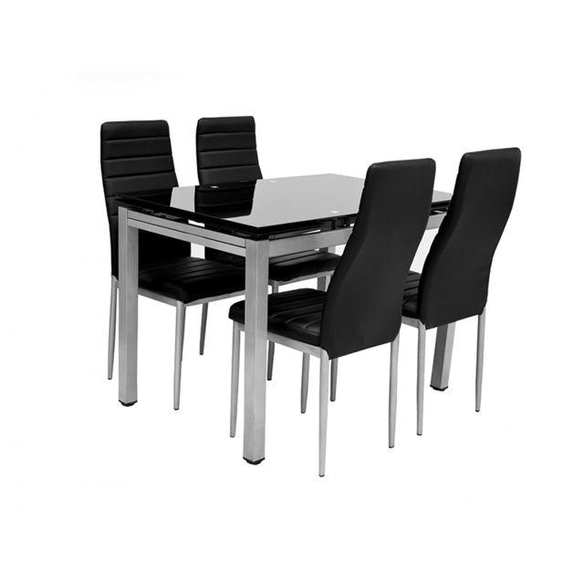TOPDECO - Table + 4 chaises + 2 rallonges Plato Noir