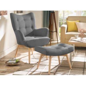 marque generique fauteuil avec repose pieds esben en tissu gris pas cher achat vente. Black Bedroom Furniture Sets. Home Design Ideas