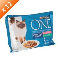 One - Sachets avec effilés en sauce - Spécial chat stérilisé - Pour chat adulte - 4x85 g x12
