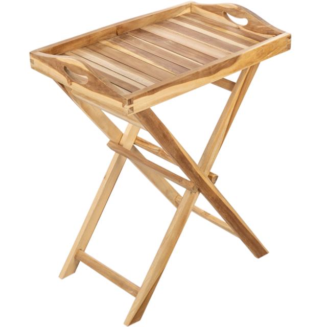 Primematik Plateau pliant d'extérieur avec pieds 60 x 70 x 40 cm en bois de teck certifié