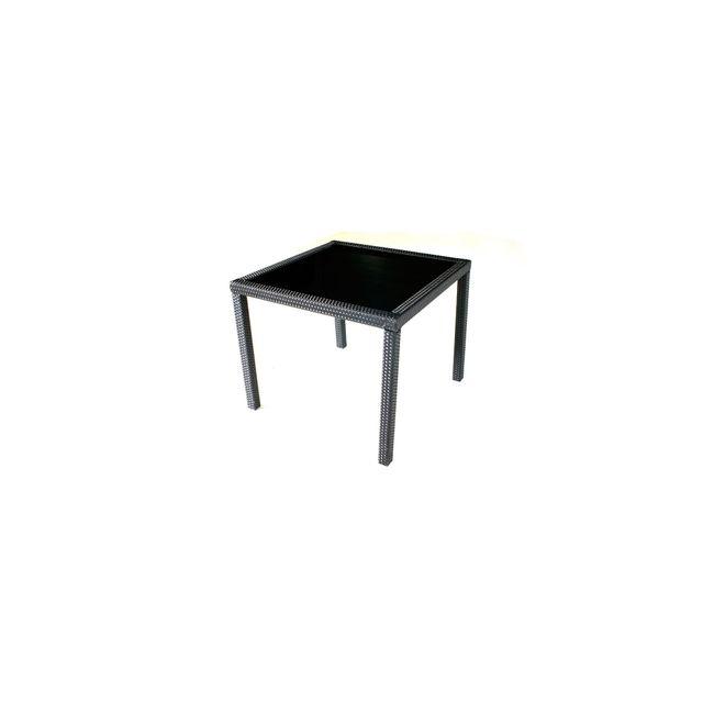 WOOD EN STOCK Table de jardin en résine tressée noir 80x80 cm