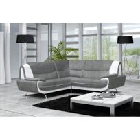 Canapé d'angle maya- microfibre - gris et blanc - Réversible