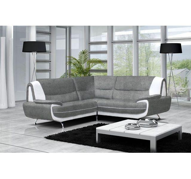 CHLOE DESIGN Canapé d'angle maya- microfibre - gris et blanc - Réversible