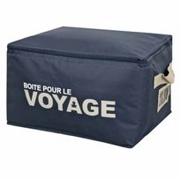 Clementina Frog - Boite de rangement textile avec fermeture par zip Bleu marine Family Voyage - M