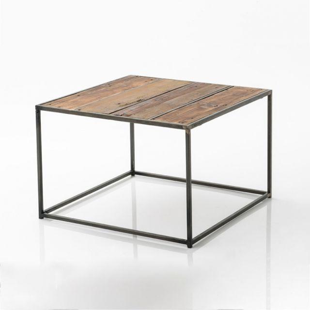 AMADEUS Table basse carrée en bois recyclé 60 cm