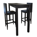 Vidaxl Set de 1 table bar et 2 tabourets noir