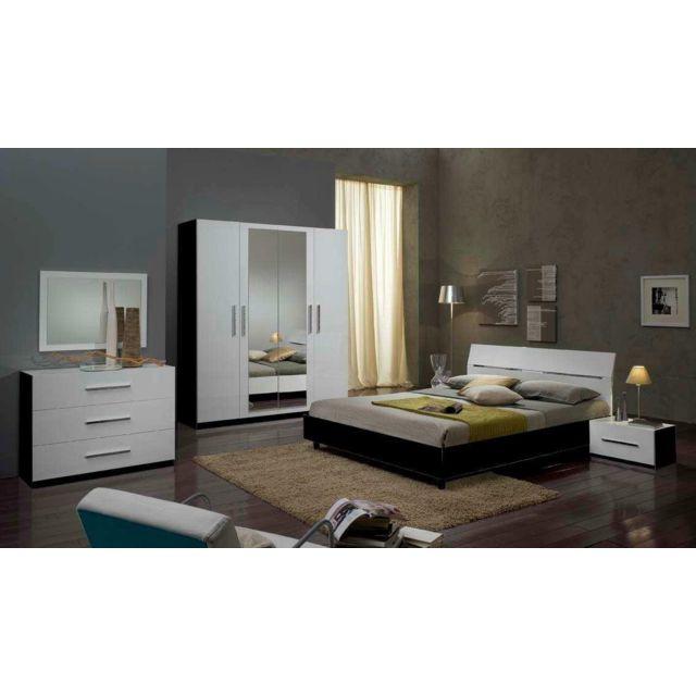 Chambre A Coucher Model Gloria Noir Blanc Armoire 4 Portes