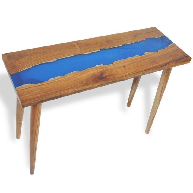 Contemporain Consoles ligne Monaco Table console Teck Résine 100 x 35 x 75 cm