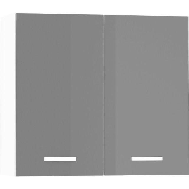 Meuble haut de cuisine design 80 cm avec 2 portes coloris blanc mat et gris  laqué