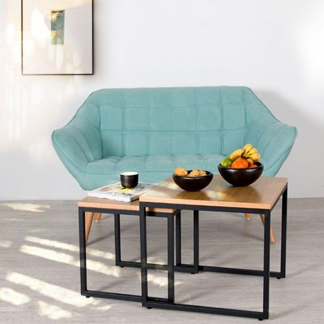Rendez Vous Deco Table basse carrée Kavu lot de 2