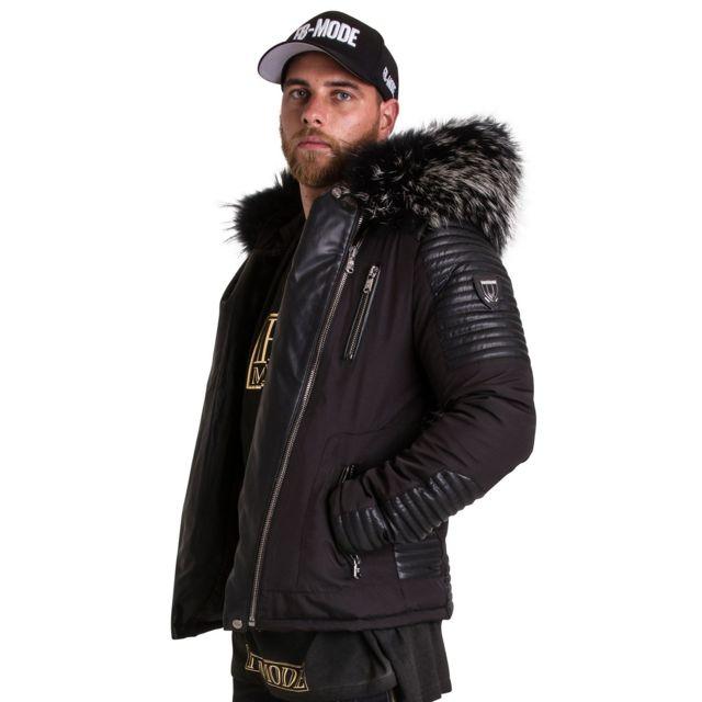 VENTIUNO - STAR-21 noir fourrure argentédoudoune , fourrure, veste, doudoune,  cuir, homme - pas cher Achat   Vente Doudoune homme - RueDuCommerce ec2d755cae7e