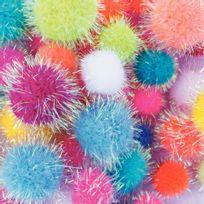 pompons irisés, tailles et couleurs assorties - sachet de 200