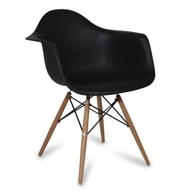 Novara Mobili Chaise Arms Wood Style Noir Avec Pied En Bois De Htre With Et