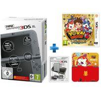 New 3DS XL Noir Métallique + Yo-Kai Watch 2 Fantômes Bouffis - 3DS + BLOC ALIMENTATION 3DS DSI XL ET DSI + Protecteur Duraflexi Jibanyan Yo-Kai Watch - 3DS XL