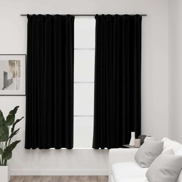 Vidaxl Rideaux occultants aspect lin avec crochets 2pcs Noir 140x175cm