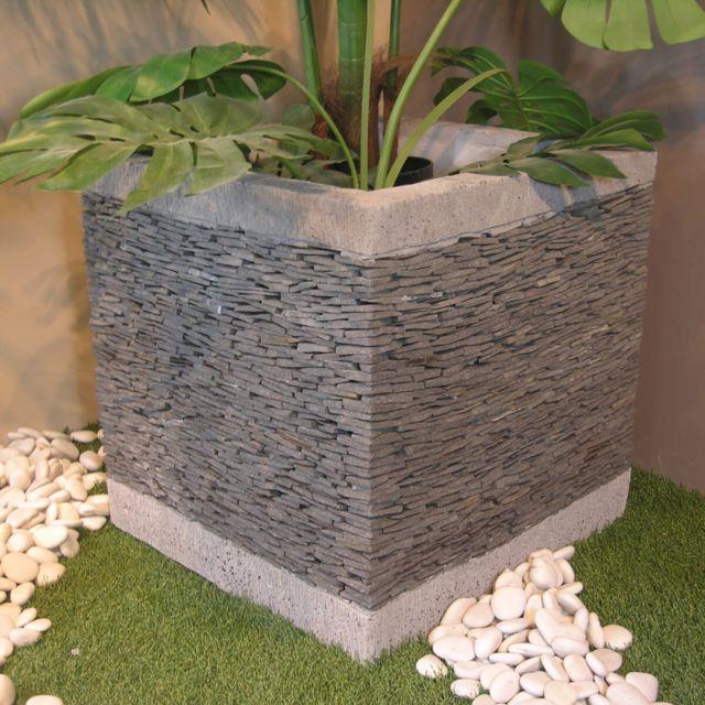 wanda collection pot bac jardini re carr cube ardoise 50cm jardin terrasse pierre naturelle