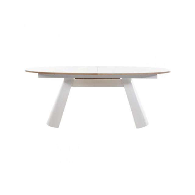 Bobochic Table de repas ovale Calvin Chêne et Blanc