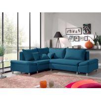 BESTMOBILIER - Jade - Canapé d'angle gauche convertible avec rangement - 258x196x85cm Couleur - Bleu canard