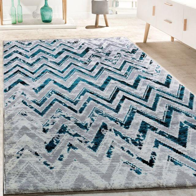 Paco-home - Tapis De Créateur Salon Moderne Zigzag Gris Turquoise ...