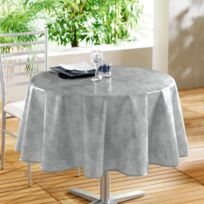 Decoline - Toile cirée ronde - D 160 cm - Beton ciré - gris