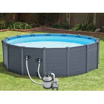 INTEX - Piscine Graphite tubulaire - 4,78 x 1,24 m