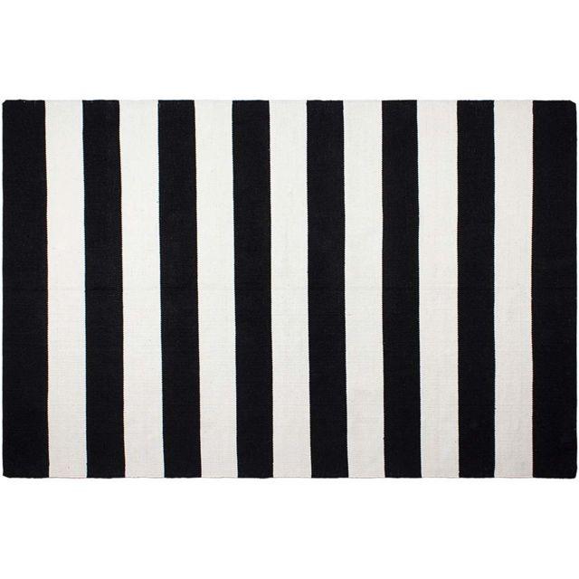 FABHABITAT - Tapis intérieur extérieur Nantucket noir et blanc