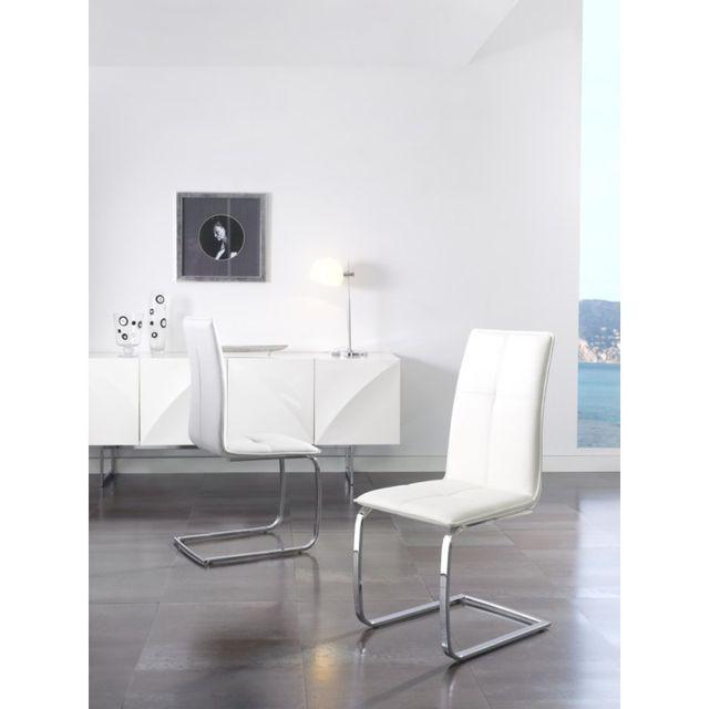 Ma Maison Mes Tendances Lot de 2 Chaises en simili cuir blanc et pieds aciers Mela - L 46 x l 54 x H 102