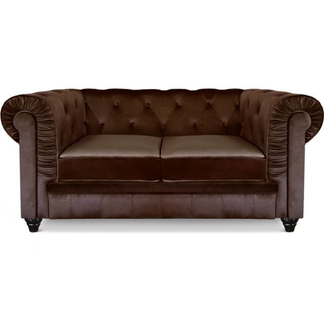 MENZZO Canapé 2 places Chesterfield Velours Marron