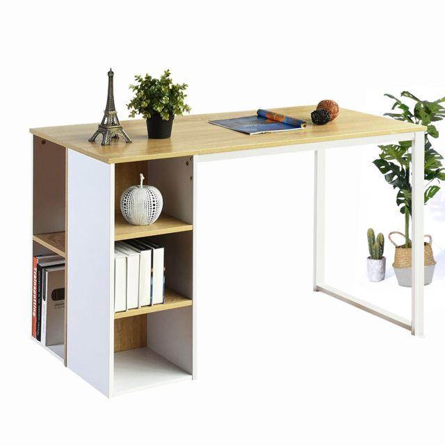 Urban Meuble Bureau étagère rangement chêne blanc bois métal