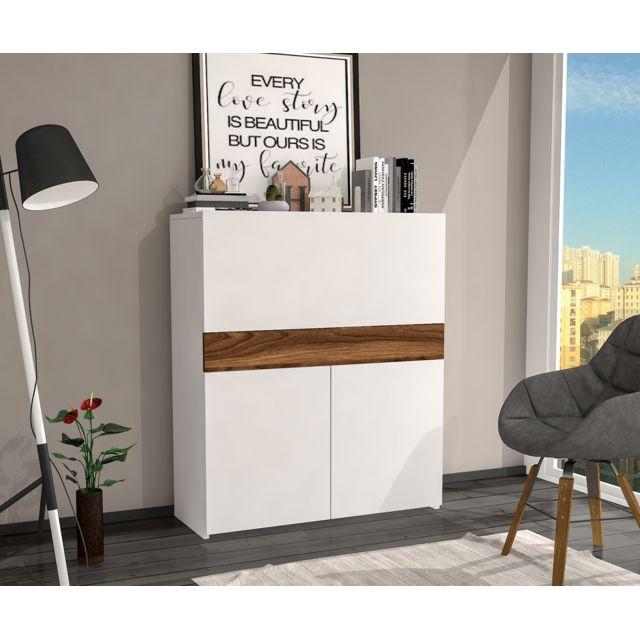 Bureau Secretaire Design Fonctionnel Motif Bois Poirier Et Blanc