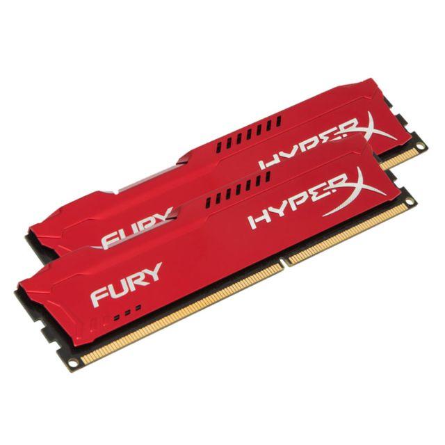 HYPERX Mémoire kit de 2 barrettes kingston DDR3 PC3-14900 - 2 x 4 Go 8 Go, 1866 MHZ - CAS 10 - Fury Red Series Surcadençage automatique – jusqu'à 1866 MHz - Dissipateur thermique asymétrique : évacuez la chaleur avec classe et efficacité - Compatible avec