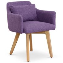 MENZZO - Chaise / Fauteuil scandinave Gybson Tissu Violet