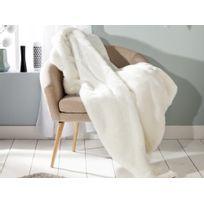 Comptoir Des Toiles - Plaid fausse fourrure ours polaire blanc revers velours écru 140x180cm Sweet Homenc