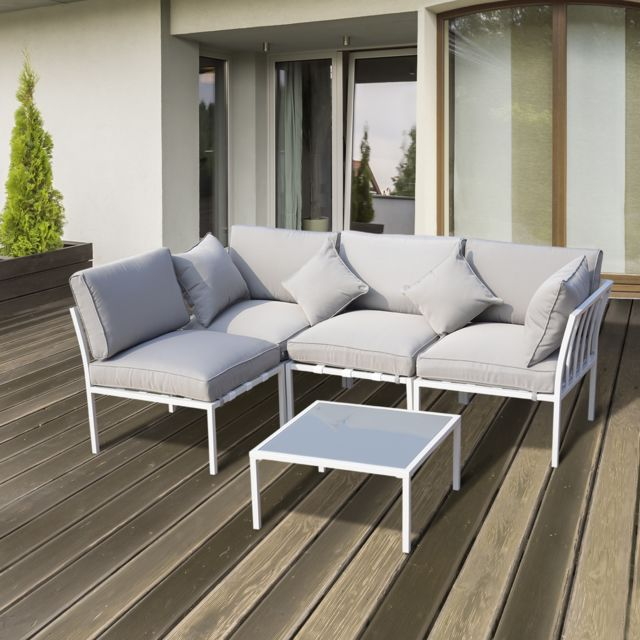 OUTSUNNY - Ensemble salon de jardin design contemporain 4 places ...