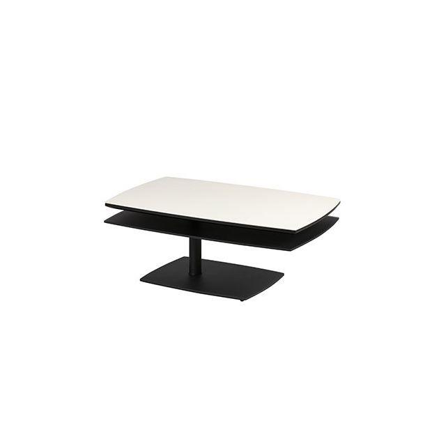 Table basse rectangulaire laqué noir mat et verre