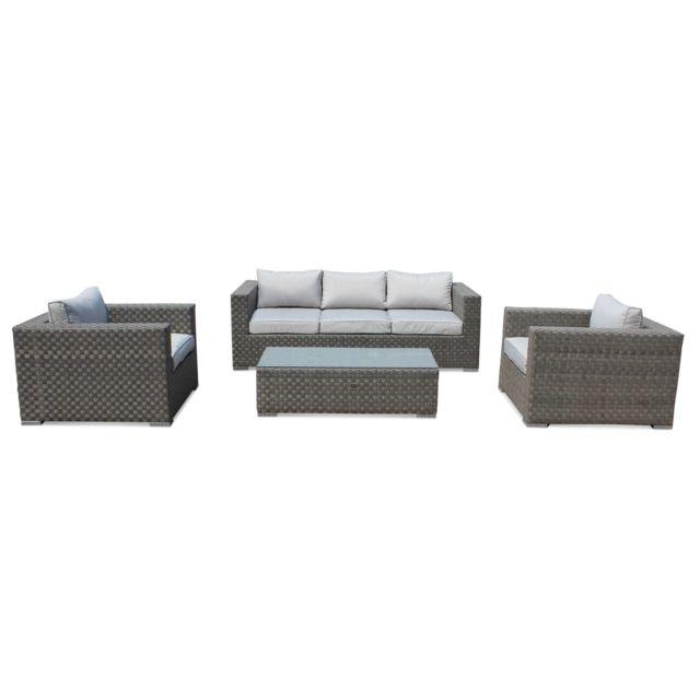 Salon de jardin résine tressée large - Largo - Coloris gris, coussin gris,  canapé d\'extérieur