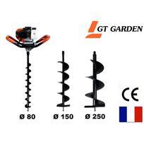 Gt Garden - Tarière thermique 52 cm3, 3 Cv + lot de 3 mèches 80, 150 et 250 mm