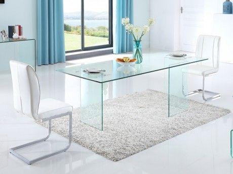 Table à manger MARTINE 6 couverts Plateau en verre trempé