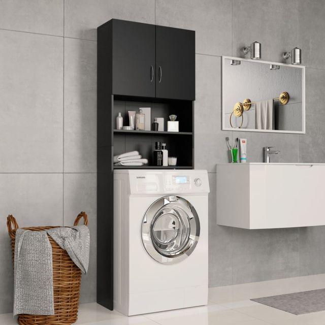 Vidaxl Meuble pour machine à laver Noir 64 x 25,5 x 190 cm Aggloméré