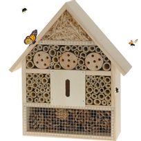 Touslescadeaux - Hôtel à Insectes - abri refuge nichoir maison abeille papillon coccinelles