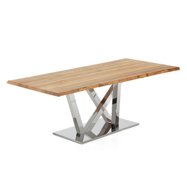 Kavehome Table Nyc 220x100 cm, inox plateau chêne