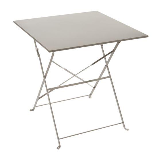 Table Bistrot carrée pliante - Taupe à Prix Carrefour