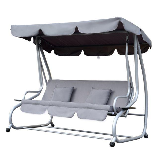outsunny balancelle de jardin 3 places convertible toit imperm abilis inclinaison r glable 2. Black Bedroom Furniture Sets. Home Design Ideas