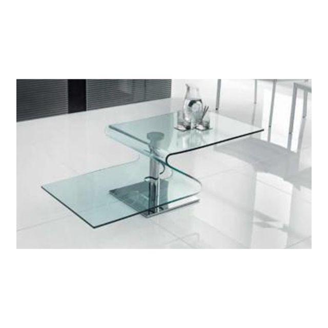 Cosy&TENDANCE Table Basse Verre Trend 3 - Coloris Steel - Translucide