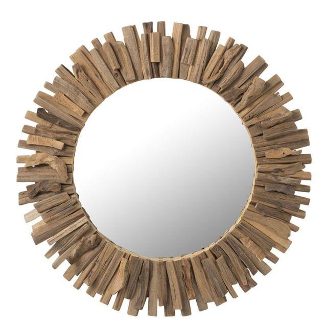 Tousmesmeubles Miroir rond Bois naturel - Jargalan