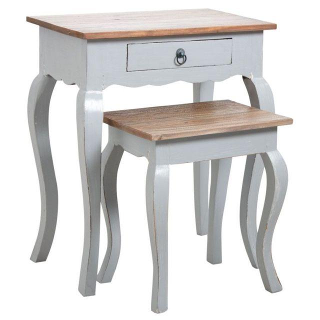 AUBRY GASPARD Tables gigognes en bois gris antique