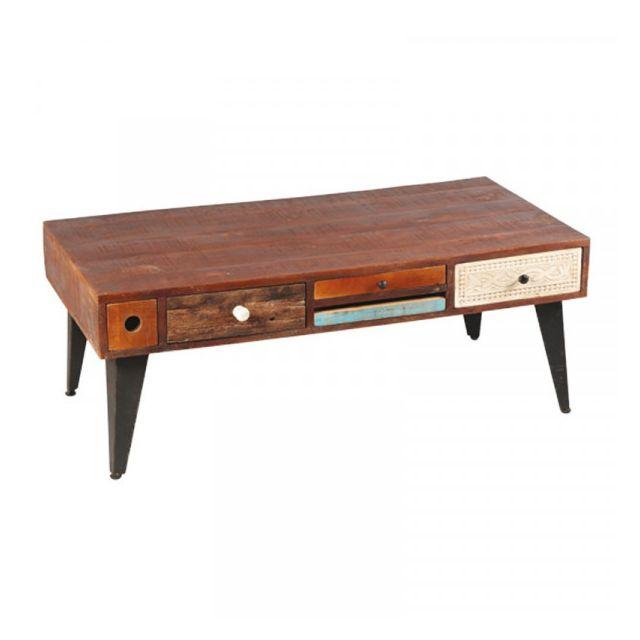 Dansmamaison Table basse Rectangulaire 5 tiroirs bois de Palissandre - Verden - L 120 x l 60 x H 46 cm