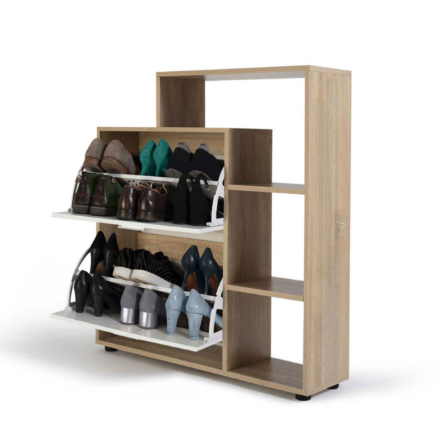 Meuble à chaussures imitation hêtre 3 portes blanches avec
