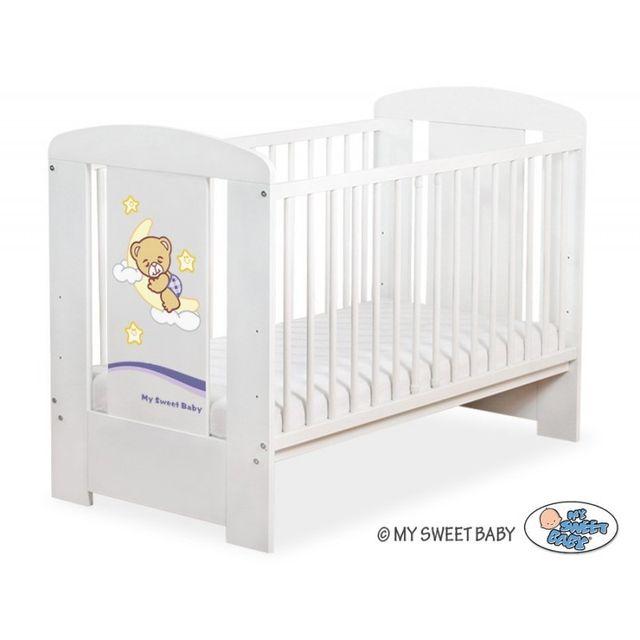 Lit bébé bonne nuit violet + matelas blanc