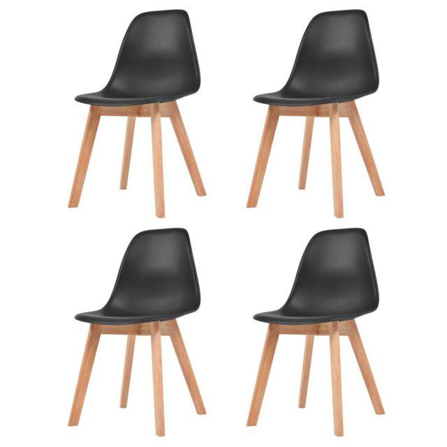 Chaises de salle à manger 4 pcs Noir Plastique